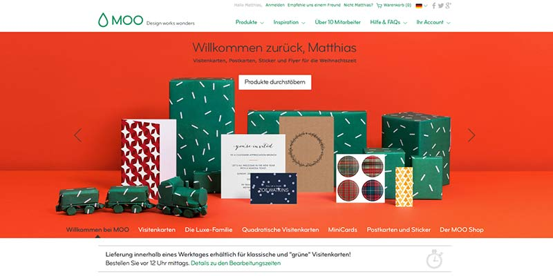 Website mit Kundennutzen: Moo Cards