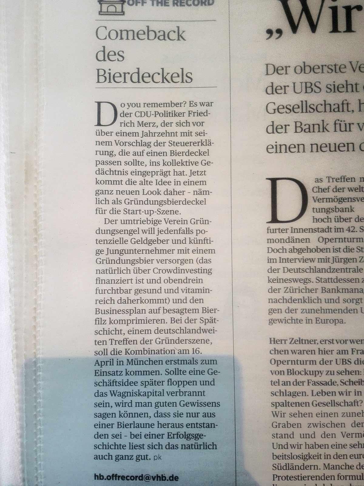 Handelsblatt: Gründungsengel e.V. entwickelt Bierdeckel-Businessplan