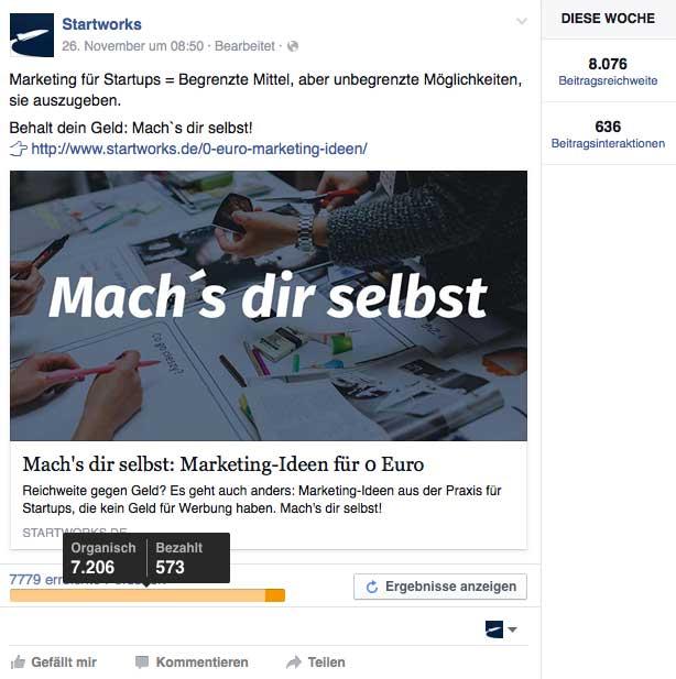 Fast 8.000 erreichte Personen durch nur einen Post in zwei Facebook Gruppen